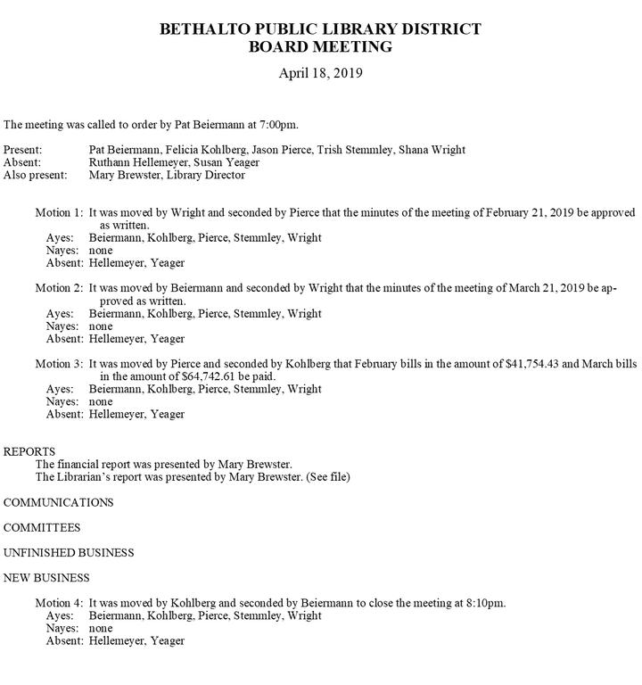 April 18, 2019 Board Minutes