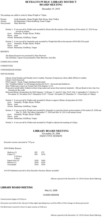 December 19, 2019 Board Minutes