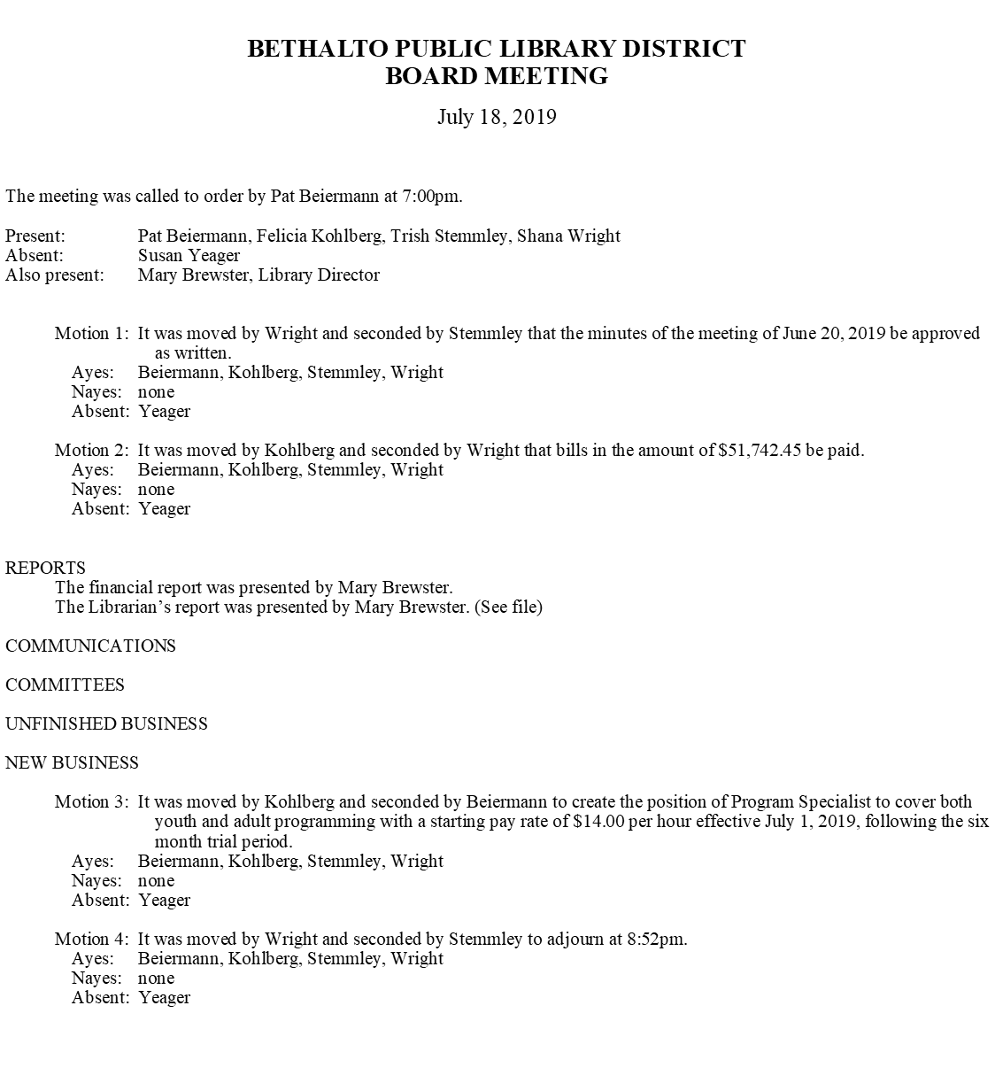 July 18, 2019 Board Minutes