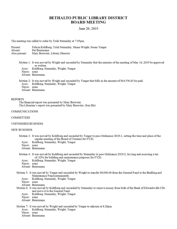 June 20, 2019 Board Minutes