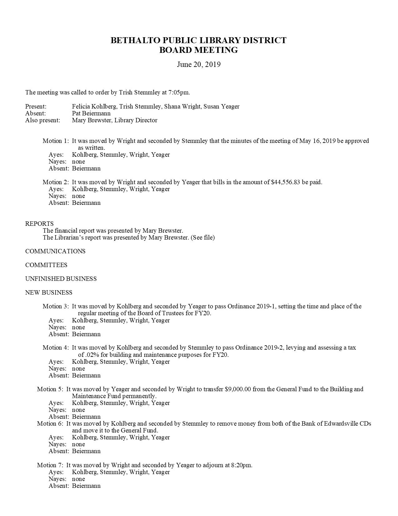 June 20, 2019 Board Minutes