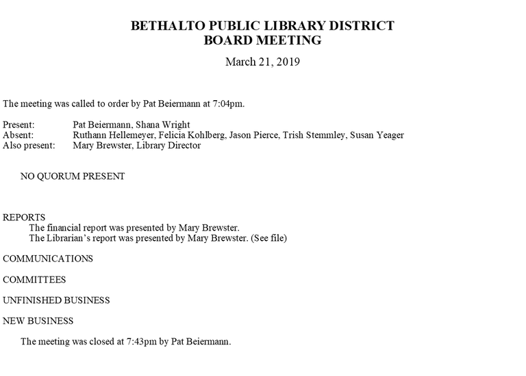 March 21, 2019 Board Minutes