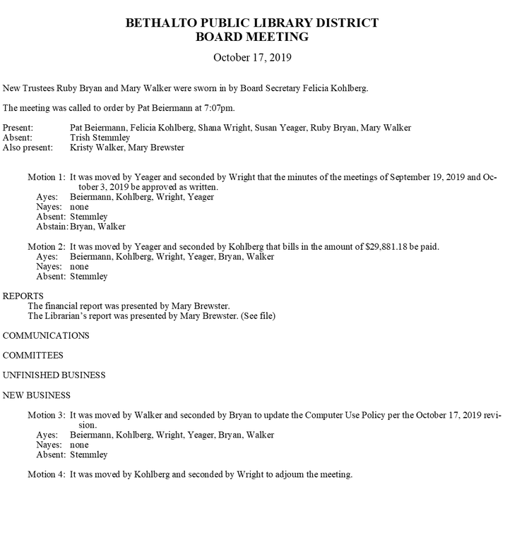 October 17, 2019 Board Minutes