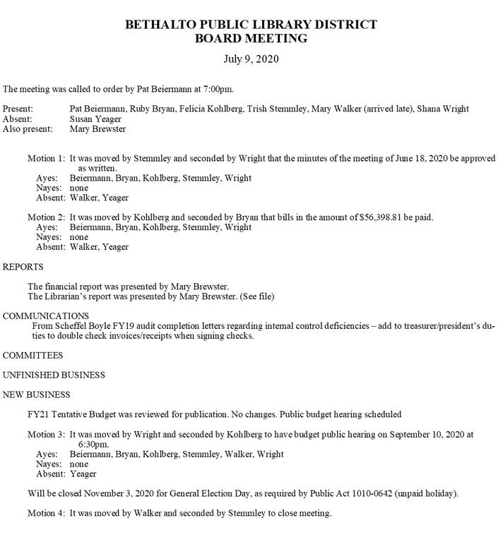 July 9, 2020 Board Meeting