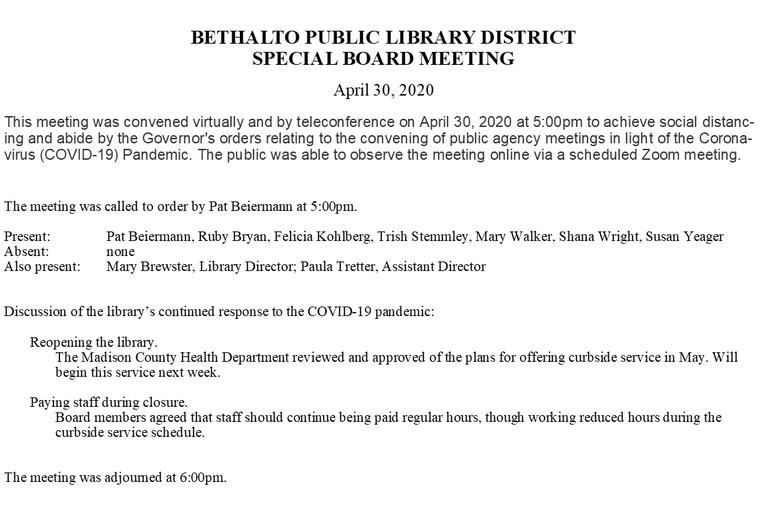 April 30, 2020 Special Board Minutes