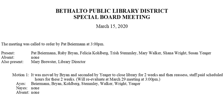 March 15, 2020 Special Board Minutes