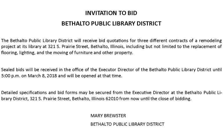 Invitation To Bid